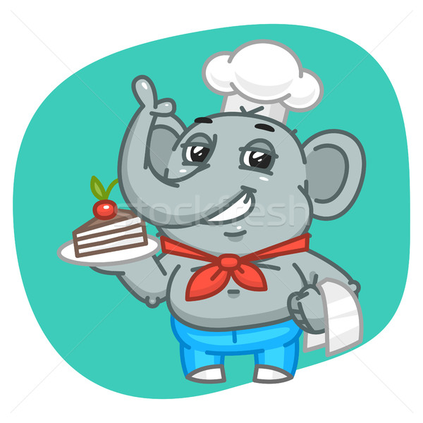 Elephant in Jeans Pants Holding Plate with Cake Stock photo © yuriytsirkunov