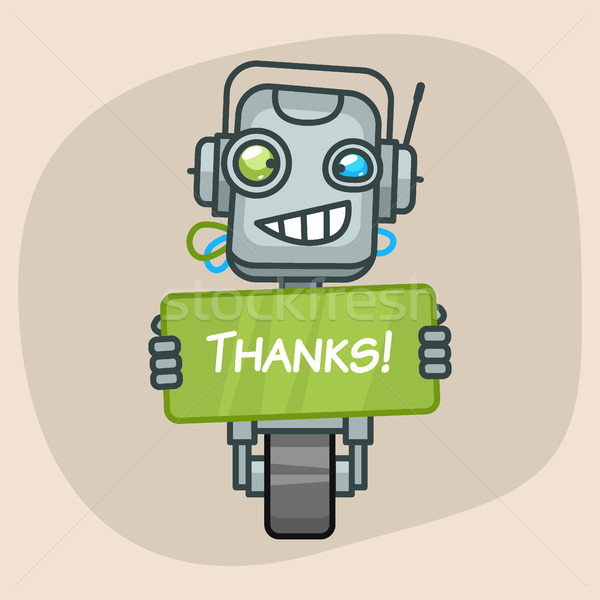 Robot Holds Sign Thanks Stock photo © yuriytsirkunov