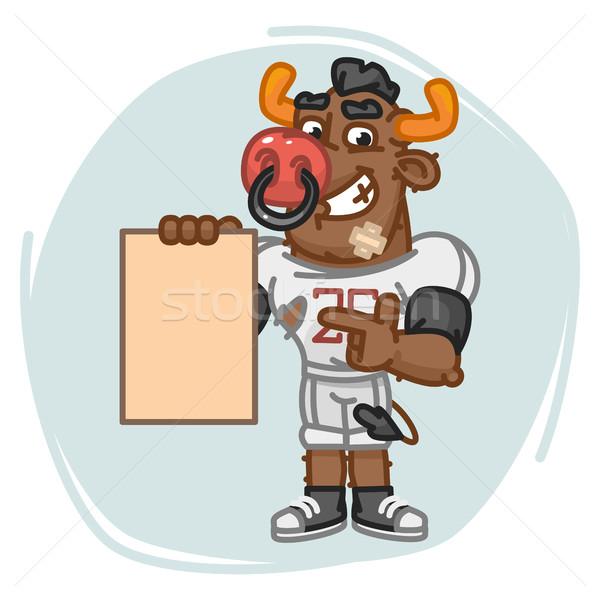 бык футболист лист бумаги талисман характер Сток-фото © yuriytsirkunov