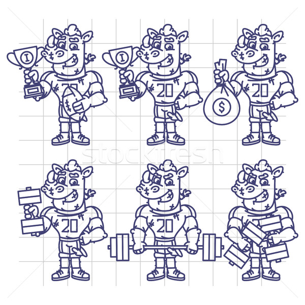 Sketch Character Set Rhino Football Player Holds Cup Money Dumbb Stock photo © yuriytsirkunov