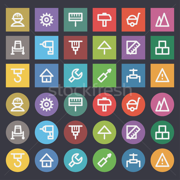 Flat icons set repair construction Stock photo © yuriytsirkunov