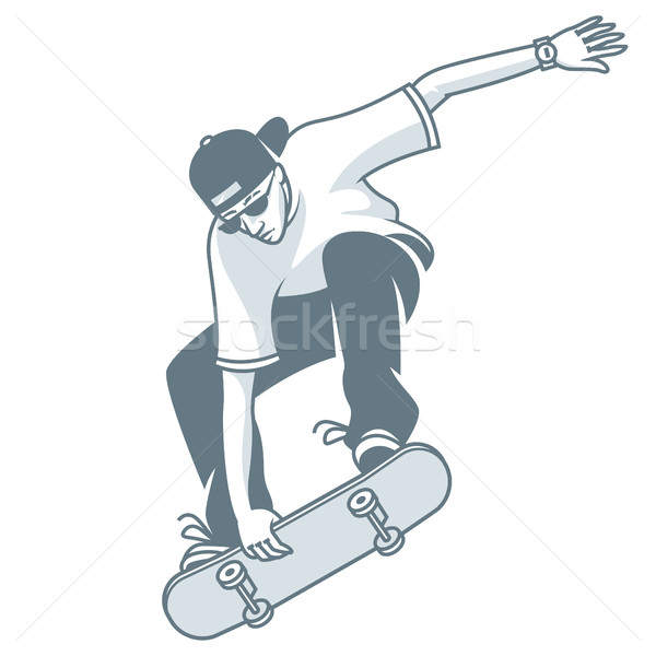 Guy makes jump on skateboard Stock photo © yuriytsirkunov