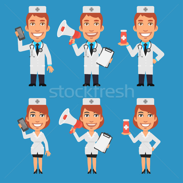 Doctor and Nurse Holding Megaphone Phone Tablet Stock photo © yuriytsirkunov