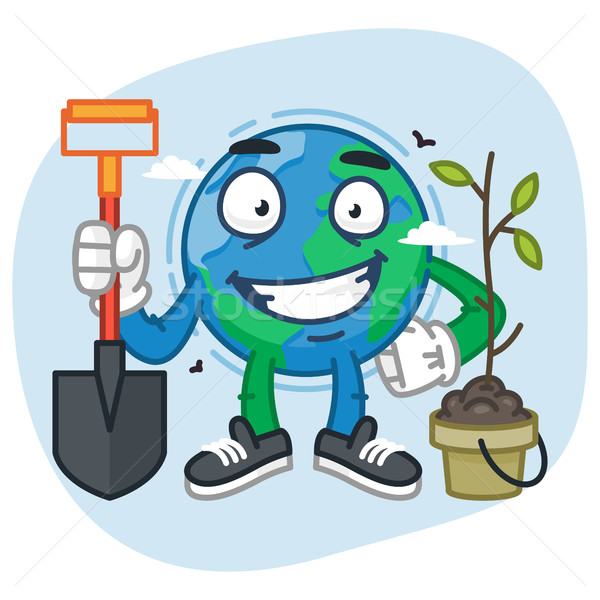 Character Earth Holding Shovel Stock photo © yuriytsirkunov