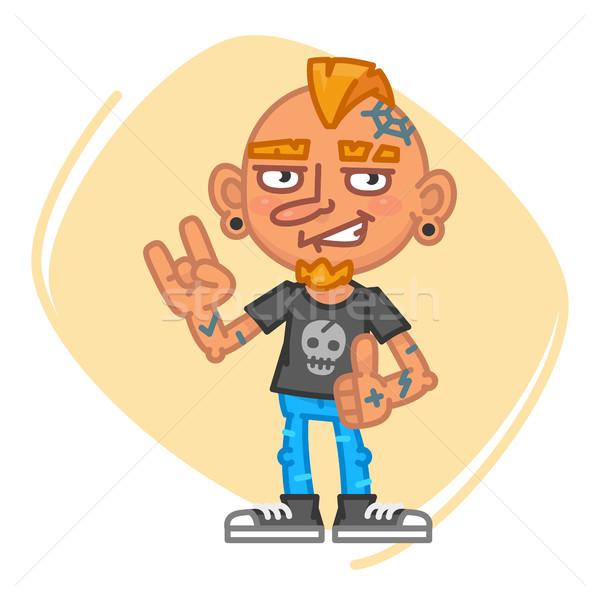 татуировка художник рок жест талисман характер Сток-фото © yuriytsirkunov