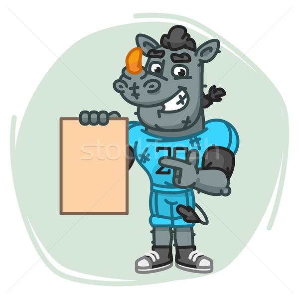 Rinoceronte folha papel mascote Foto stock © yuriytsirkunov