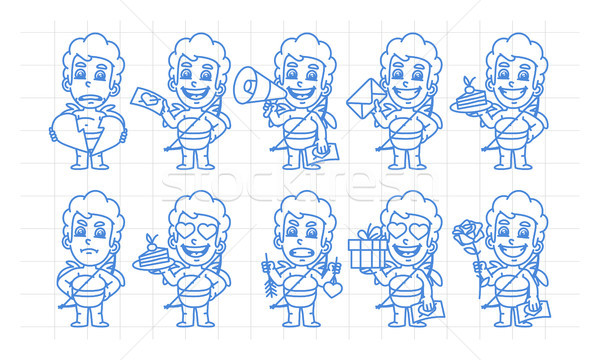Character set cupid in various versions scribble part 2 Stock photo © yuriytsirkunov