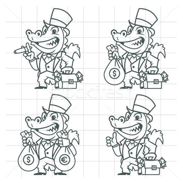 Krokodil miljonair bankier doodle formaat eps Stockfoto © yuriytsirkunov