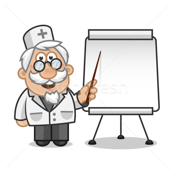 Doktror points on a flip chart Stock photo © yuriytsirkunov