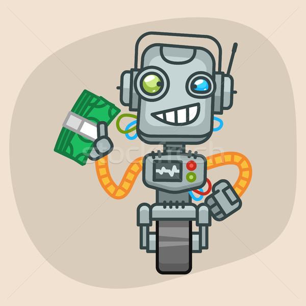 Robot Holds Wad of Money Stock photo © yuriytsirkunov