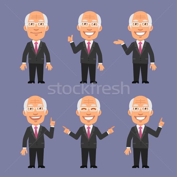Old Businessman Showing and Points Stock photo © yuriytsirkunov