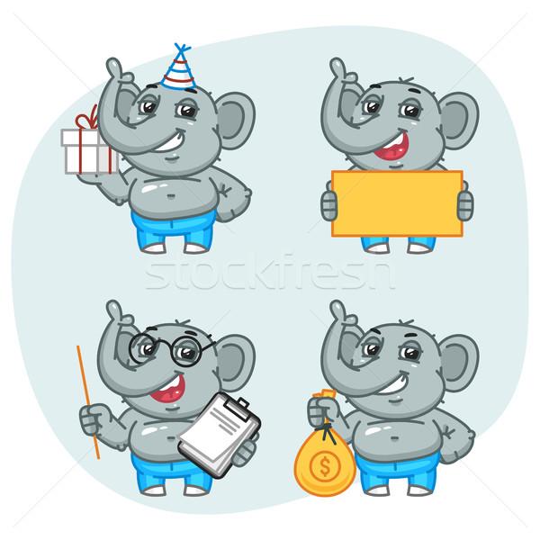 Fil hediye kâğıt notepad para karakter Stok fotoğraf © yuriytsirkunov