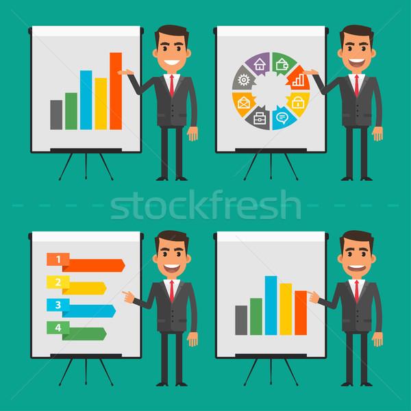 Infographics businessman indicates on flip chart Stock photo © yuriytsirkunov