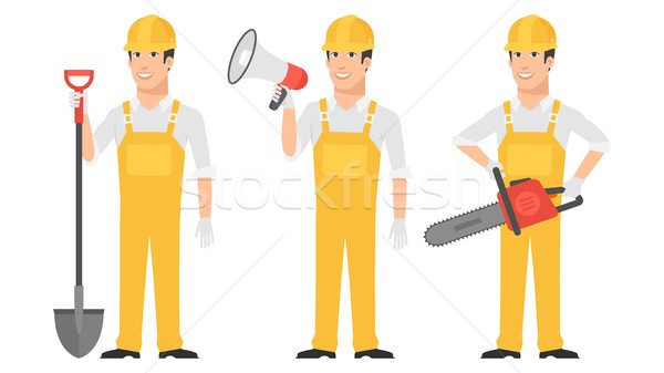 Builder holding shovel megaphone chainsaw Stock photo © yuriytsirkunov