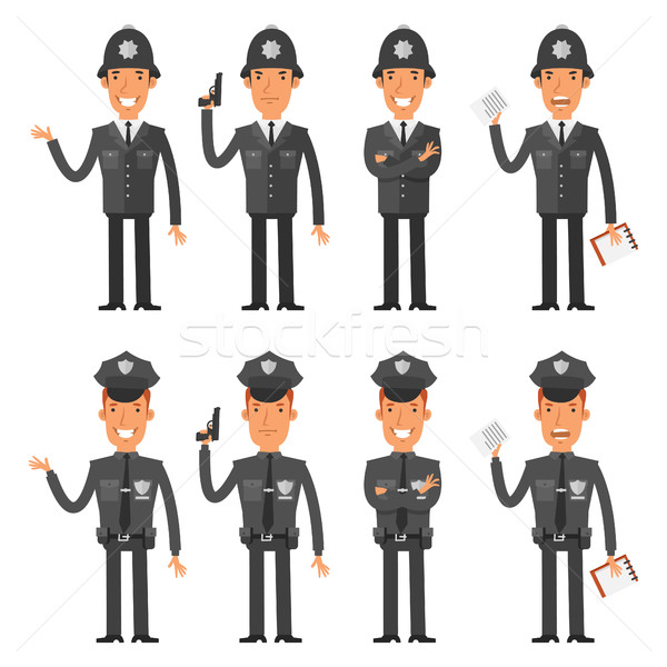 Set characters policeman Stock photo © yuriytsirkunov