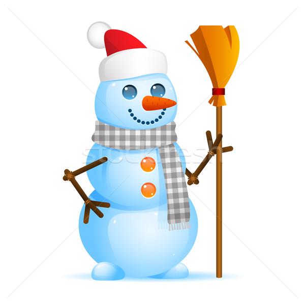Sneeuwpop bezem illustratie formaat eps Stockfoto © yuriytsirkunov
