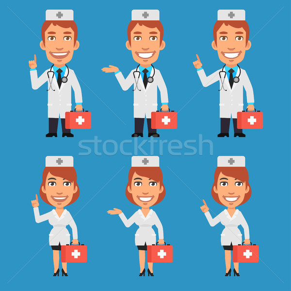 Doktor hemşire bavul makas format Stok fotoğraf © yuriytsirkunov