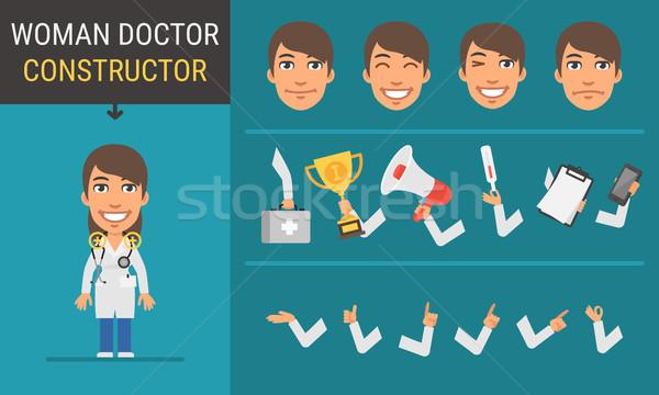 Constructor character woman doctor Stock photo © yuriytsirkunov