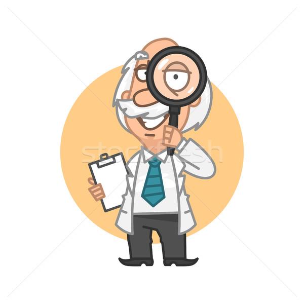 Professor looking through magnifying glass Stock photo © yuriytsirkunov
