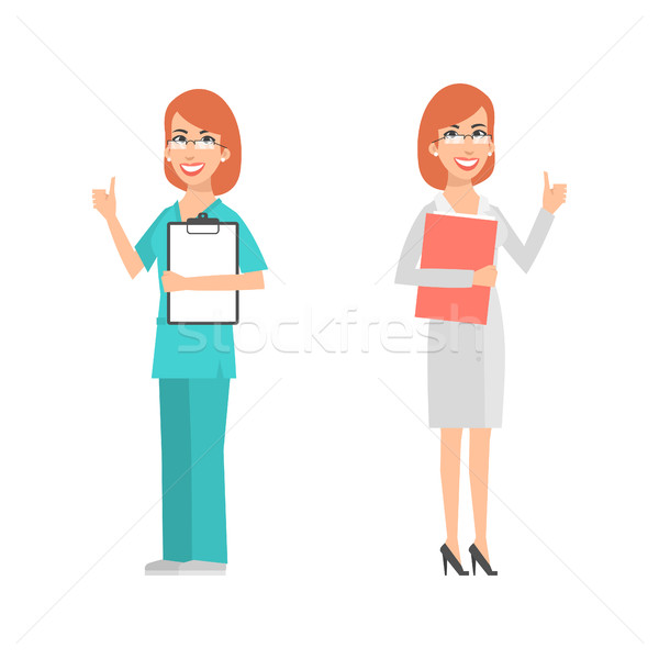 Women scientist and doctor showing thumbs up Stock photo © yuriytsirkunov