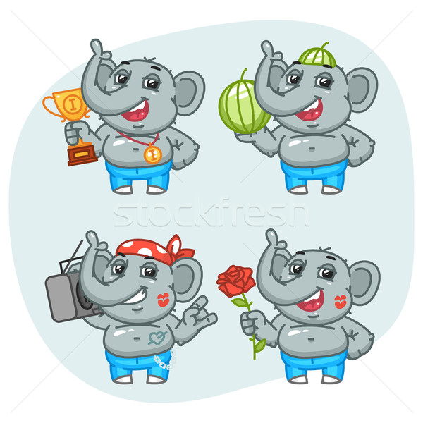 Elephant Holds Cup Recorder Watermelon Flower Character Set Stock photo © yuriytsirkunov