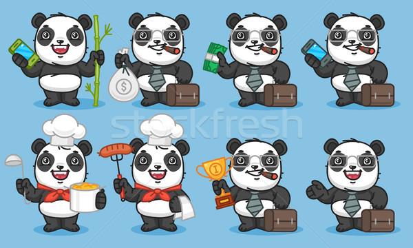 Panda szett betűk telefon bambusz pénz Stock fotó © yuriytsirkunov