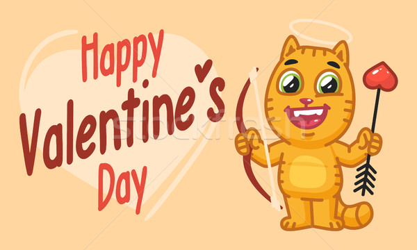 Valentines Day Cat Holds Bow and Arrow Stock photo © yuriytsirkunov