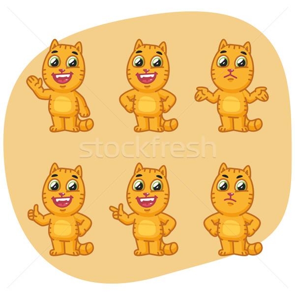 Set cat carattere mascotte design arte Foto d'archivio © yuriytsirkunov