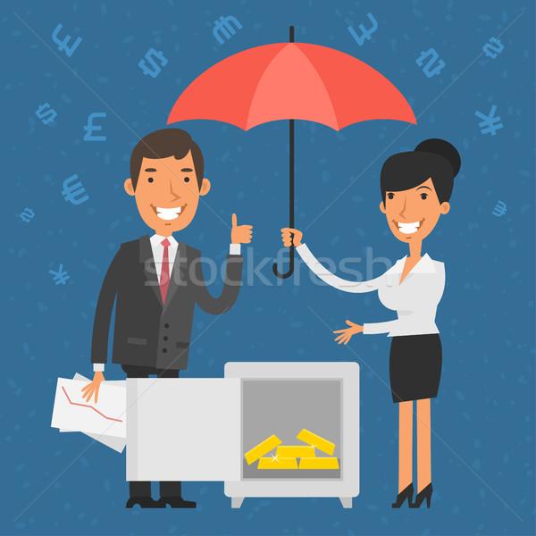 Empresário empresária pontos seguro ilustração formato Foto stock © yuriytsirkunov