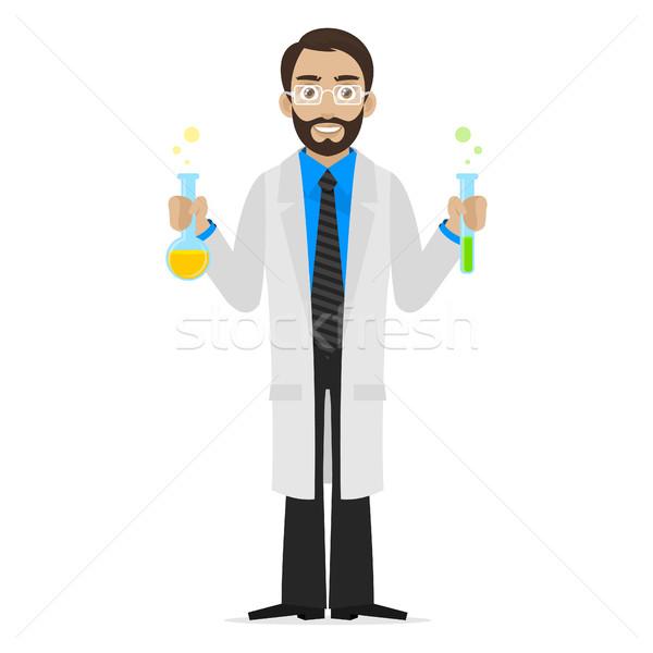 Bilim adamı kimyasallar deney tüpü örnek format eps Stok fotoğraf © yuriytsirkunov