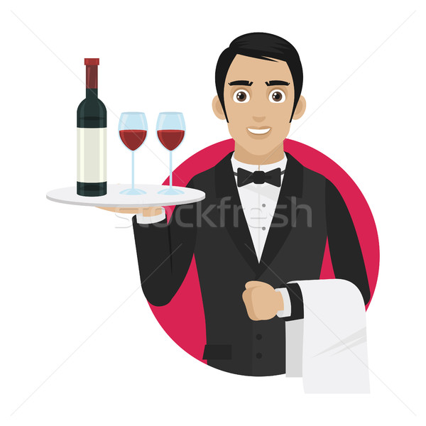 Stock photo: Waiter holds tray with wine and glasses