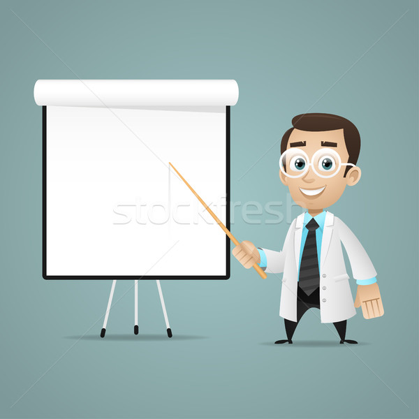 Young scientists points on flip chart Stock photo © yuriytsirkunov