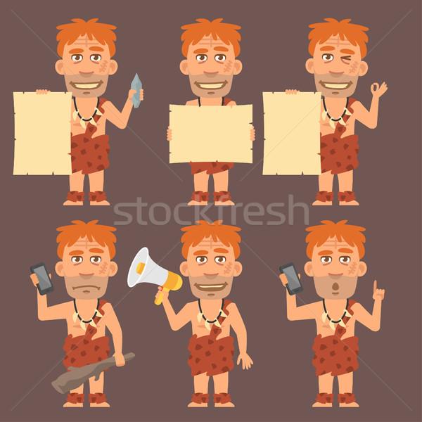 Neanderthal Holds Paper Phone and Megaphone Stock photo © yuriytsirkunov