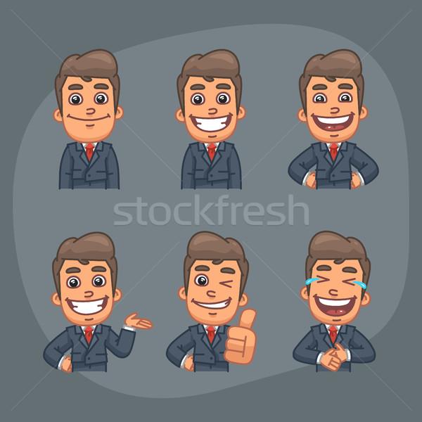 üzletember szett matricák csomag tart mosolyog Stock fotó © yuriytsirkunov
