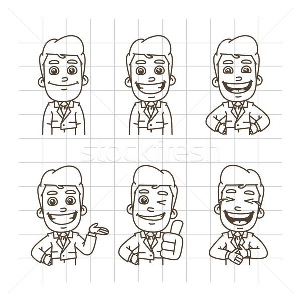 Imprenditore sketch doodle sorridere ridere Foto d'archivio © yuriytsirkunov