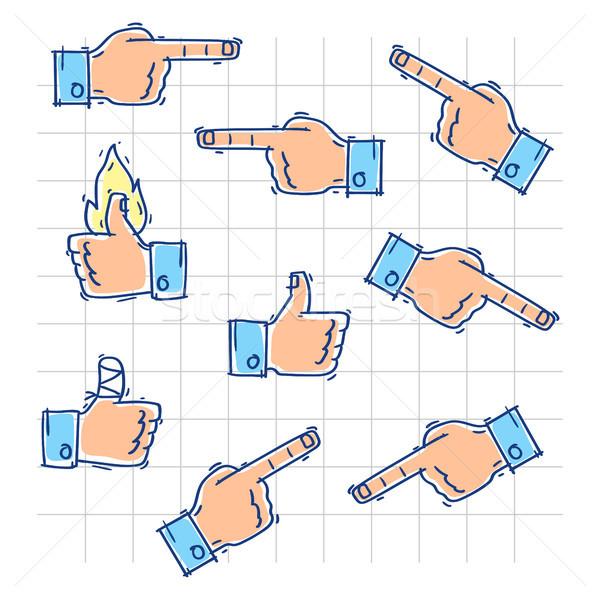 手 を見る ポイント 異なる 方向 いたずら書き ストックフォト © yuriytsirkunov