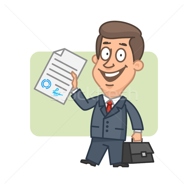 Character businessman holds in hand signed document Stock photo © yuriytsirkunov