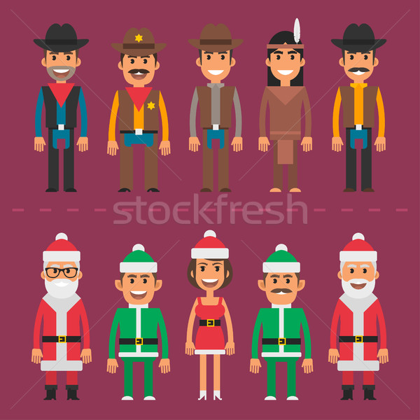 Group people cowboy sheriff santa claus gnome Stock photo © yuriytsirkunov