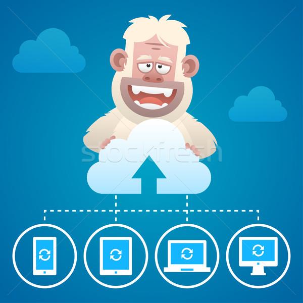 Cloud concept communication devices and character Yeti Stock photo © yuriytsirkunov
