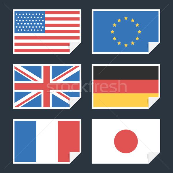 Zászlók országok perem illusztráció Japán formátum Stock fotó © yuriytsirkunov