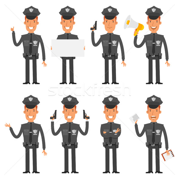 Policeman in different poses Stock photo © yuriytsirkunov