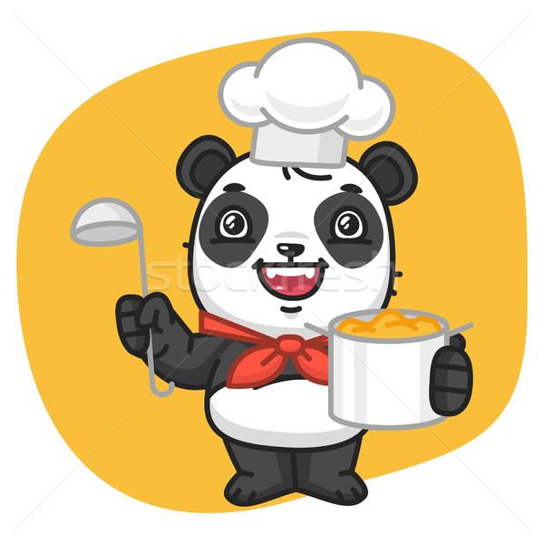 Panda szakács tart serpenyő merőkanál formátum Stock fotó © yuriytsirkunov