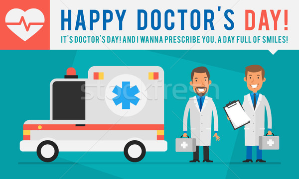 Concept Doctors Day Ambulance Car and Two Doctors Holding Suitca Stock photo © yuriytsirkunov