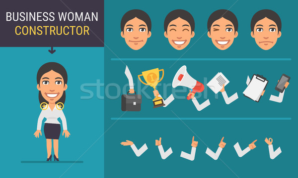 Mulher de negócios mascote negócio sorrir projeto Foto stock © yuriytsirkunov