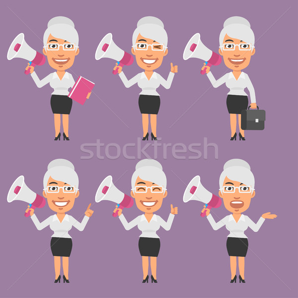 Old Businesswoman Holds Megaphone in Different Versions Stock photo © yuriytsirkunov