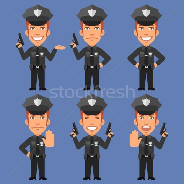 Policeman Holds Weapons Stock photo © yuriytsirkunov