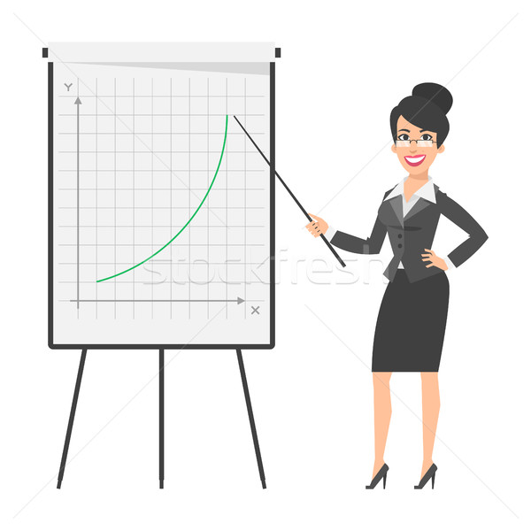 Businesswoman indicates on flip chart and smiling Stock photo © yuriytsirkunov