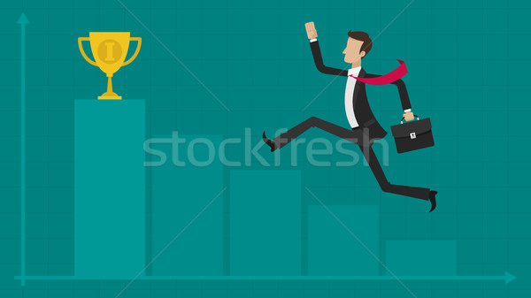 Concept businessman graph cup Stock photo © yuriytsirkunov