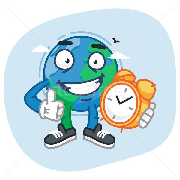 Character Earth Holding Clock and Showing Thumbs Up Stock photo © yuriytsirkunov
