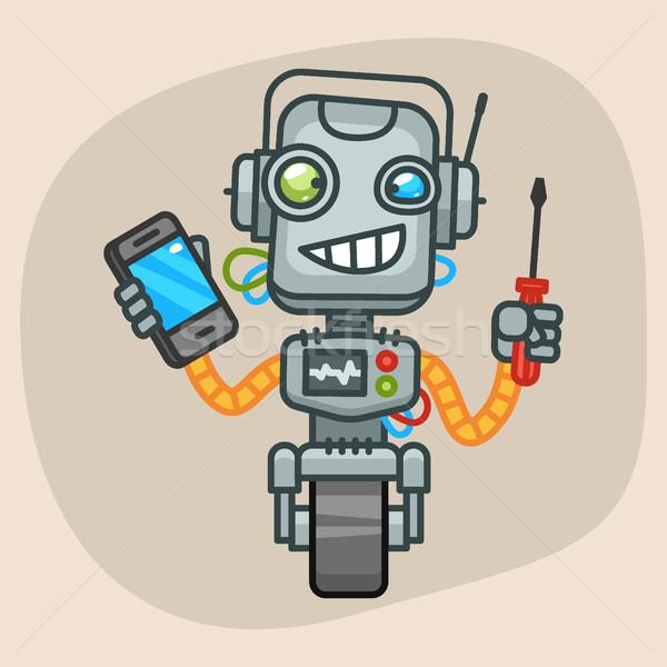 Robot Holding Screwdriver and Phone Stock photo © yuriytsirkunov